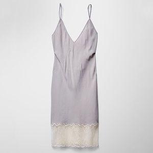 Aritzia WILFRED Moulin Crepe Lace Trim Slip Dress